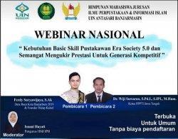 Webinar Nasional Mahasiswa UIN Antasari, Bahas Tema Kebutuhan Basic Skill Pustakawan Era Society 5.0