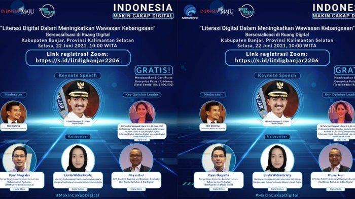 Bupati Banjar H Saidi Mansyur saat menjadi keynote speaker pada Webinar Literasi Digital wilayah Kabupaten Banjar, Provinsi Kalimantan Selatan, melalui zoom meeting, Senin (21/6/2021).