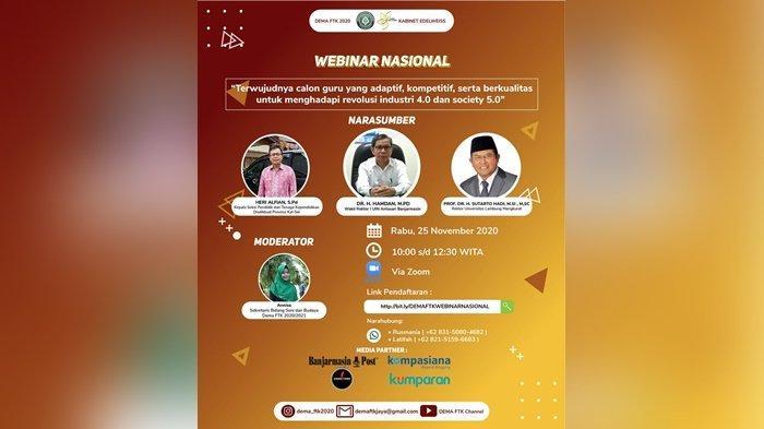 Dema FTK UIN Antasari Gelar Webinar Nasional tentang Guru Berkualitas dan Profesional