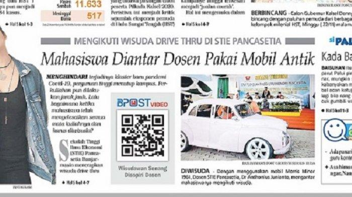 Uniknya Wisuda Drive Thru di STIE Pancasetia, Mahasiswa Diantar Dosen Pakai Mobil Antik
