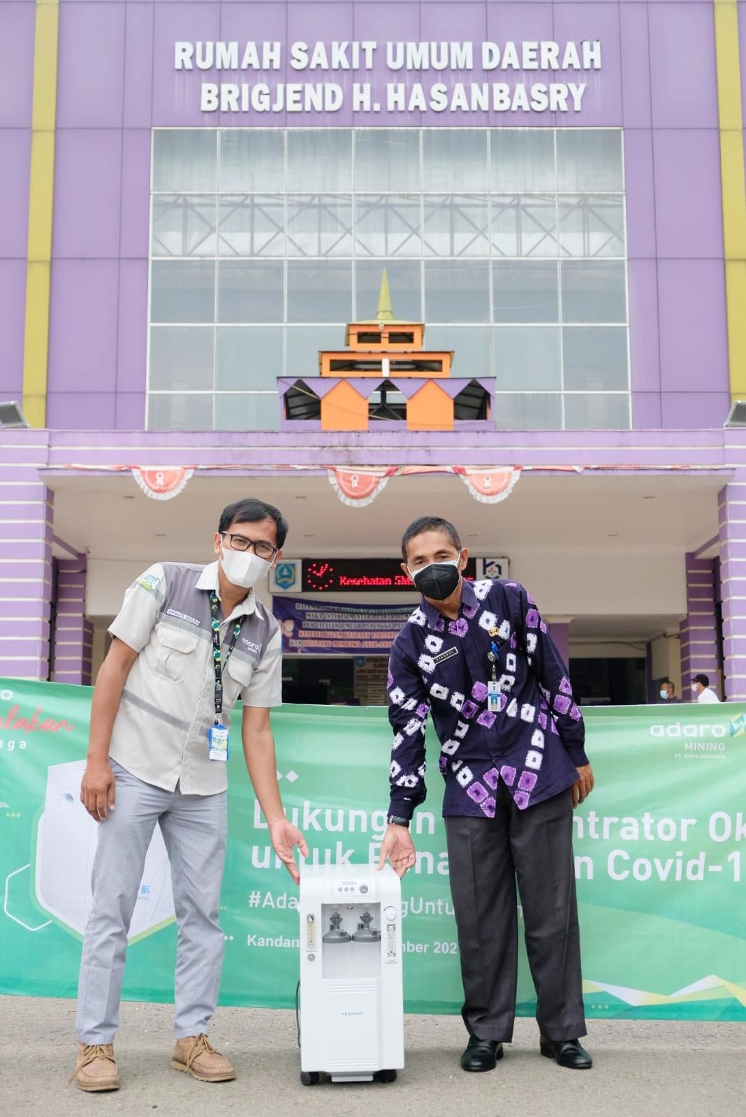 Penyerahan 10 Konsentrator Oksigen dari Adaro kepada RSUD Brigjend H Hasan Basry di Kota Kandangan, Kabupaten Hulu Sungai Selatan (HSS), Provinsi Kalimantan Selatan (Kalsel), Kamis (9/9/2021).