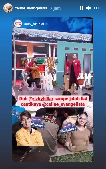 Adegan Rizky Billar dan Vicky Prasetyo terjatuh gegara Celine Evangelista (Instagram celinevangelista)
