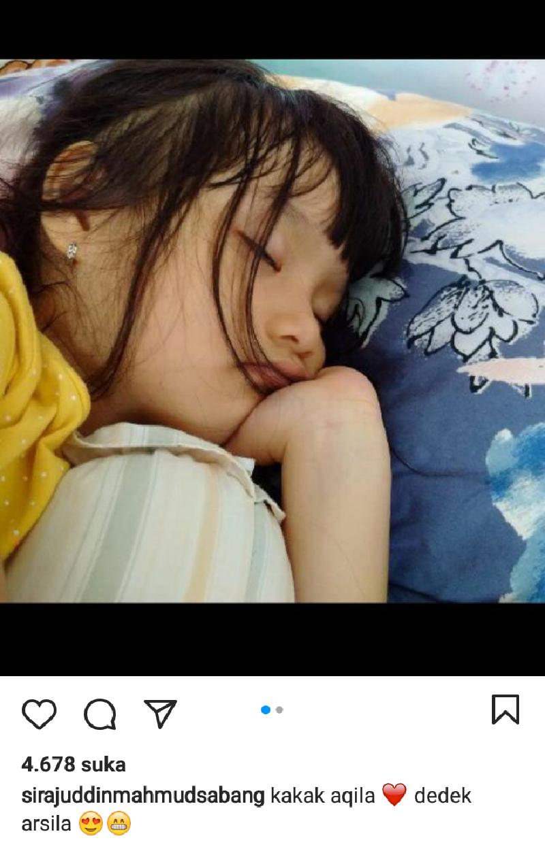 Wajah Aqila Ramadhani saat tidur