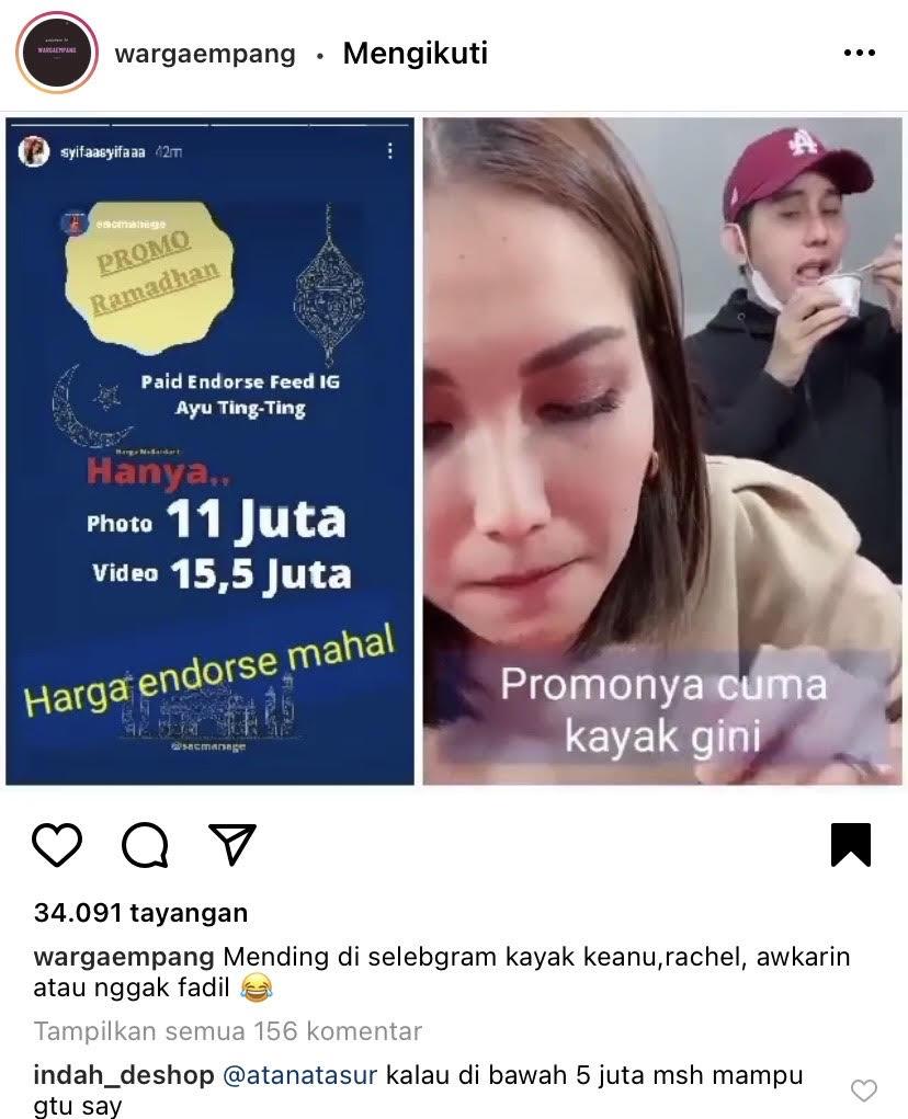 Tarif Endorse Ayu Ting Ting Diungkap Syifa Sang Adik