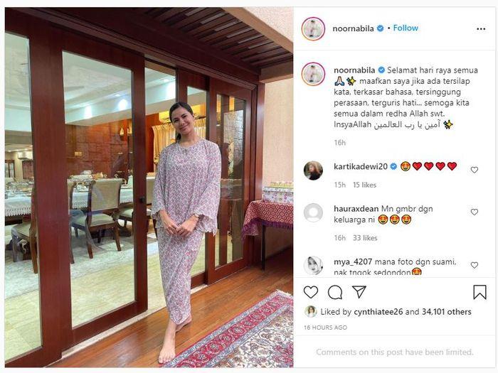 Baju lebaran Noor Nabila, istri baru Engku Emran.