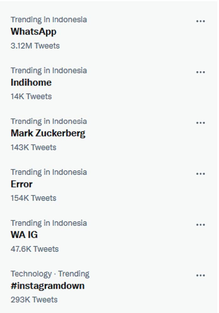 Hashtag Whatsapp dan Instagram Down Trending di Twitter