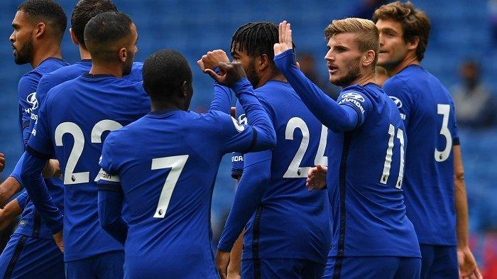 Skuad Chelsea merayakan golnya. Berikut jadwal Liga Inggris, Sheffield vs Wolves, Brighton and hove vs Chelsea