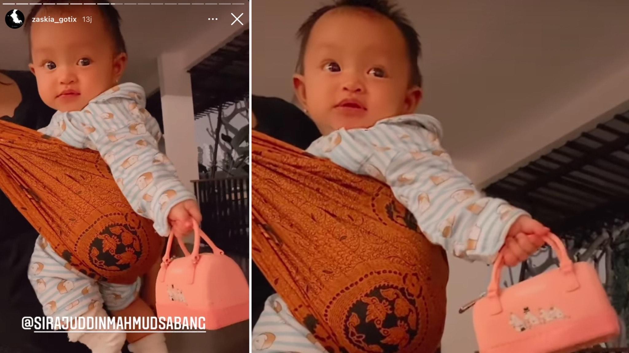 Kolase foto Arsila Bungalia Sirkiani anak Zaskia Gotik dan Sirajuddin jinjing tas mini