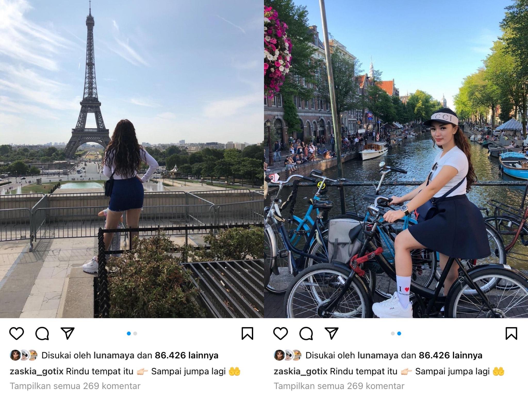 Kolase foto Zaskia Gotik saat di Paris