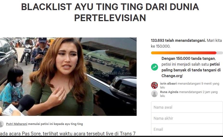 Petisi Blacklist Ayu Ting Ting saat ini