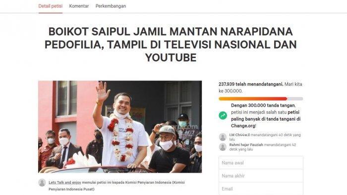 Petisi boikot Saipul Jamil dari TV dan youtube.