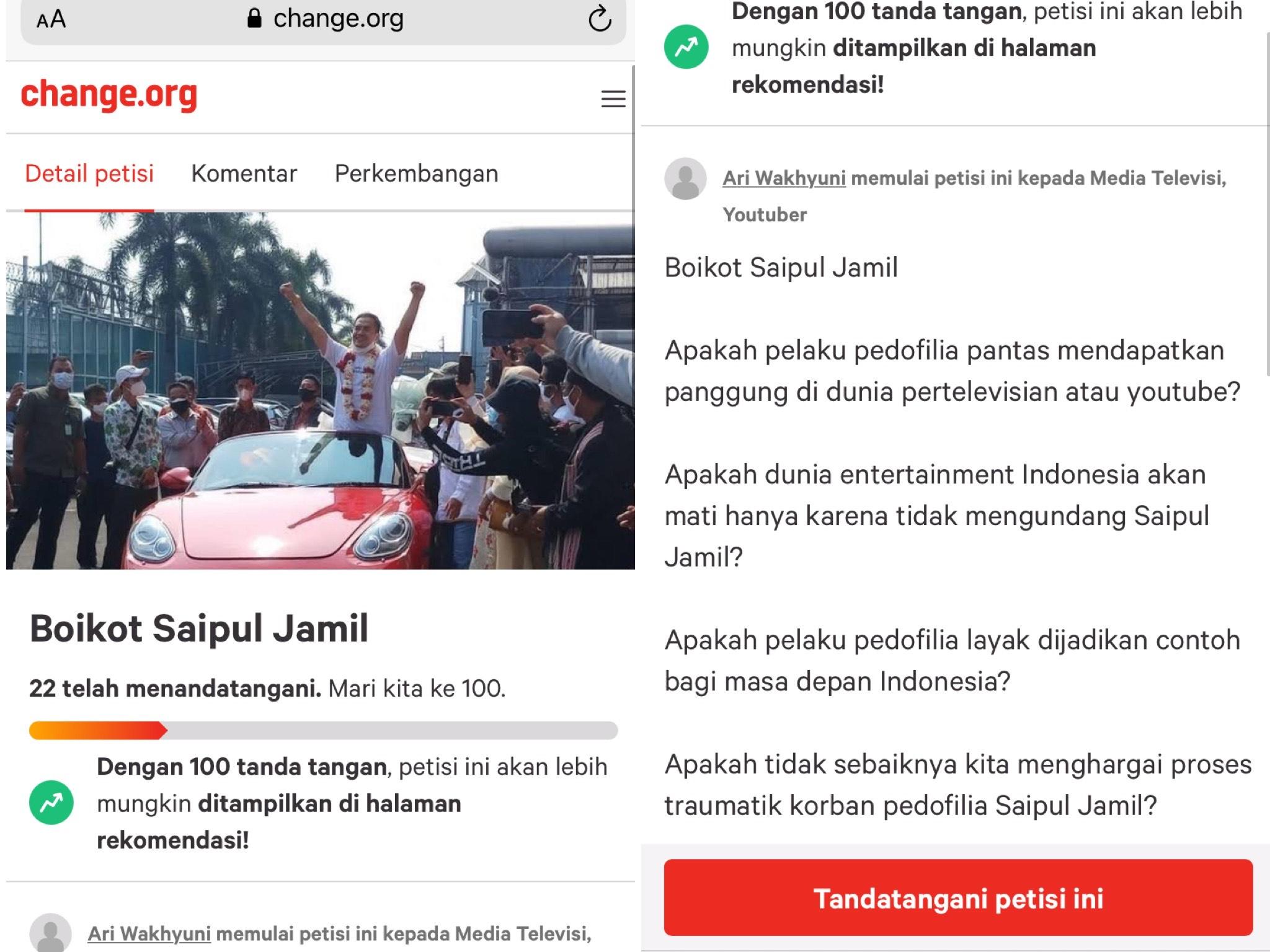 Petisi boikot Saipul Jamil di Change.ord