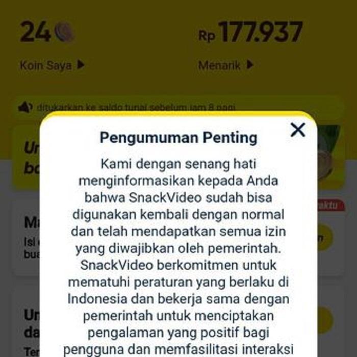 Tampilan layar notifikasi di Aplikasi Snack Video yang telah dinyatakan legal.