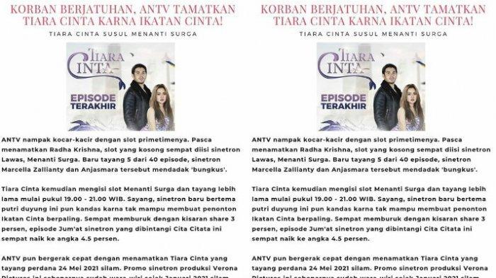 Sinetron Cita Citata di ANTV tumbang jadi korban Ikatan Cinta