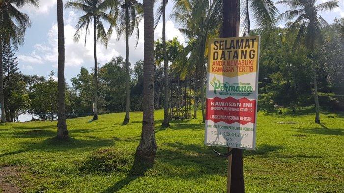 Tertib patuhi protokol kesehatan di Wisata Kalsel Taman Permana Pelaihari Kabupaten Tanahlaut.