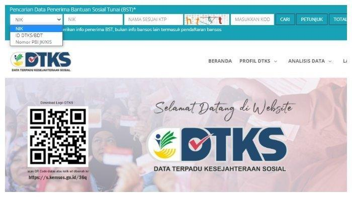 Halaman website dtks.kemensos.go.id