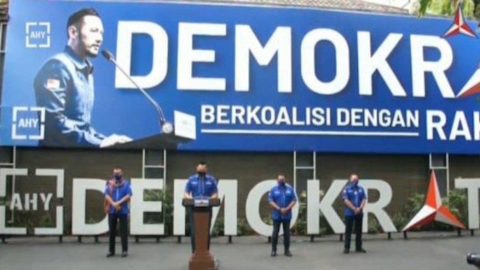Ketua Umum DPP Partai Demokrat Agus Harimurti Yudhoyono (AHY) memberikan keterangan pers, Senin (1/2/2021).