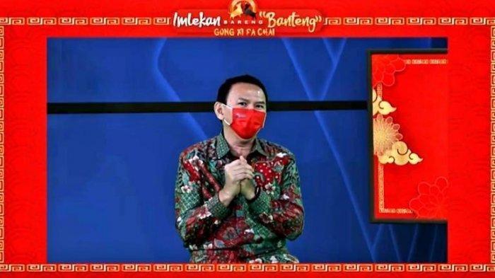 Ahok di perayaan Imlek 2021 bertajuk 'Imlekan Bareng Banteng' yang digelar di DPP PDI Perjuangan, Jakarta, Jumat (12/2/2021).