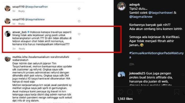 Anwar kepergok pernah berkomentar di postingan Taqychan Travel.
