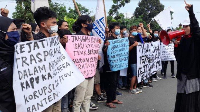 Himpunan Mahasiswa Serang Gelar Demo, Minta Kejati Libatkan KPK Usut Kasus Korupsi di Banten