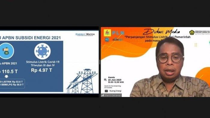 Direktur Eksekutif Energy Watch, Mamit Setiawan, saat diskusi media bertajuk