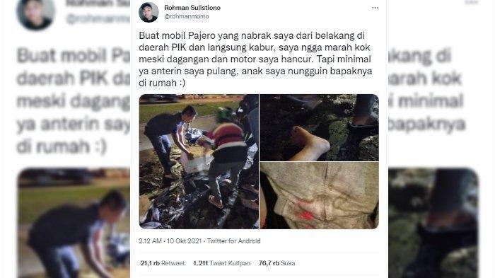Penjual Ikan Ditabrak Pajero dan Sopir Kabur, Sebut Rugi Jutaan Rupiah Namun Tak Ingin Lapor Polisi