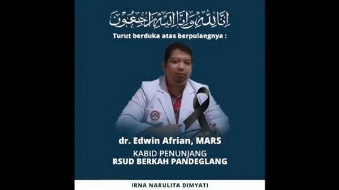 Bupati Pandeglang Kehilangan Dokter Terbaik dan Lima Nakes Akibat Covid-19