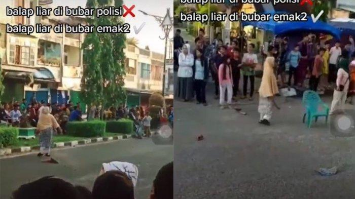 Viral Video Emak-emak Bubarkan Aksi Balap Liar, Bawa Centong Hingga Lempar Sandal