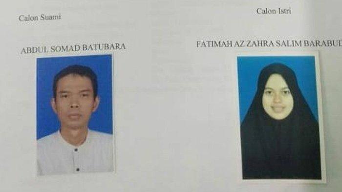 Foto berkas formulir persetujuan calon pengantin Ustaz Abdul Somad dan Fatimah Az Zahra