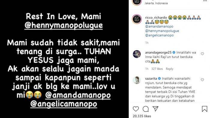 Henny Manopo, Ibunda Amanda Manopo dikabarkan meninggal dunia, Minggu (25/7/2021).