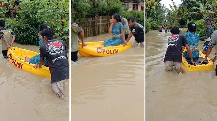Baru Selesai Melahirkan, Wanita Asal Pandeglang Dievakuasi Pakai Perahu Terobos Banjir