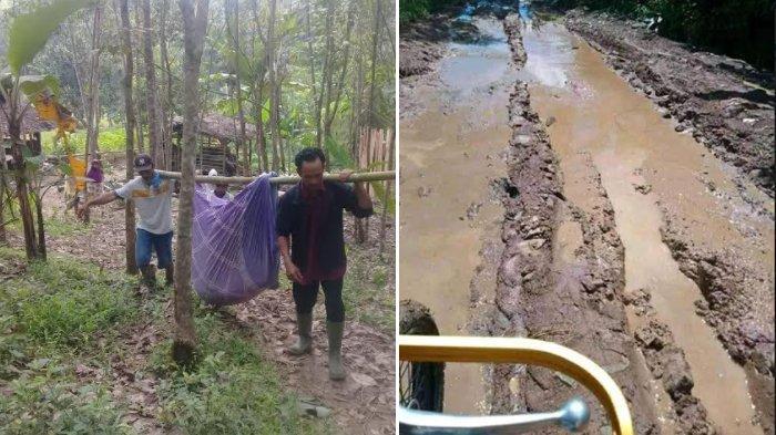 Viral foto seorang ibu hamil di Pandeglang, Banten yang ingin melahirkan terpaksa ditandu karena jalanan rusak berat