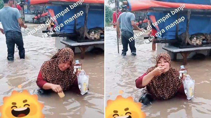 Viral Ibu-Ibu Makan Biskuit Dicelup ke Air Banjir di Cibitung: Alhamdulillah Saya Masih Sehat