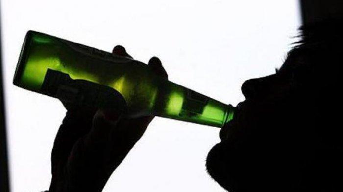 Ilustrasi minum minuman keras atau mabuk