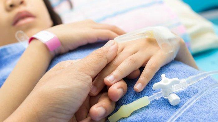 Ilustrasi pasien anak yang dirawat dengan infeksi virus corona. Gejala Covid-19 pada anak-anak sebagian besar lebih ringan.