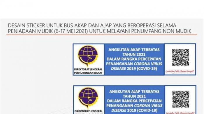 Ilustrasi stiker khusus Bus AKA dan AJAP selama masa larangan mudik Lebaran