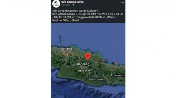Gempa Bumi Guncang Subang Jumat Pagi Ini, Warga Rasakan Guncangan Saat Salat Subuh