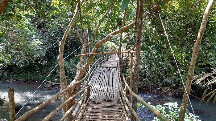 Jembatan bambu membentang di Sungai Lewi Panjang, Kampung Kacapi Amis, Desa Alaswangi, Kecamatan Menes, Kabupaten Pandeglang, Selasa (13/4/2021). Jembatan itu menjadi satu-satunya alat untuk menyeberangi sungai para warga dan santri Pondok Pesantren Tahfidz Quran Almapus.