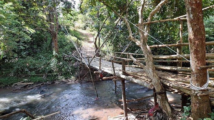 Para Santri Pesantren Tahfidz Quran Almapus Lewati Jembatan Bambu Rawan Roboh Demi Belajar Mengaji