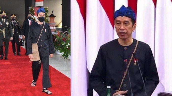 Presiden Jokowi mengenakan baju kampret, busana adat suku Baduy Luar saat menyampaikan Pidato Kenegaraan di Sidang Tahunan MPR, Senin (18/8/2021) di gedung DPR/MPR Jakarta.