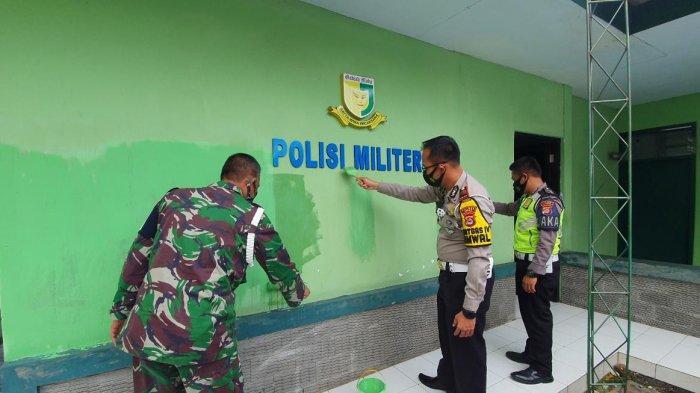 Sinergitas Polri-TNI, Mako Subdenpom III/4-1 Rangkasbitung Dilakukan Pengecatan