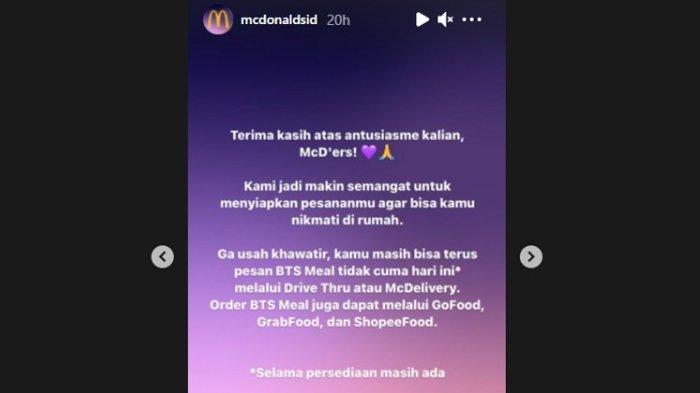 Pengumuman McDonalds Indonesia terkait paket BTS Meal