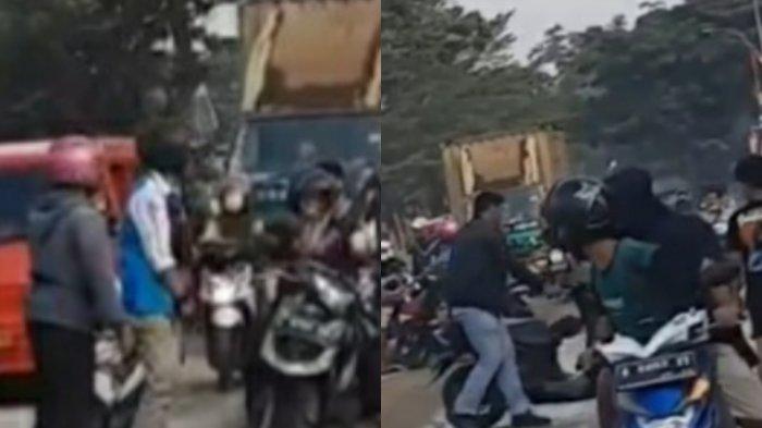 Licin Akibat Tanah Berceceran, Banyak Pengendara Motor Jatuh di Depan Kantor Kecamatan Kibin Serang