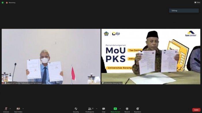 Kepala Kanwil DJP Banten Dyonisius Lucas Hendrawan menandatangani MoU pendirian Tax Center dan PKS Inklusi Perpajakan dengan Rektor Universitas Sultan Ageng Tirtayasa (Untirta) Prof DR Ir H Fatah Sulaiman dan Rektor Universitas Serang Raya (Unsera) DR M Hamdan.