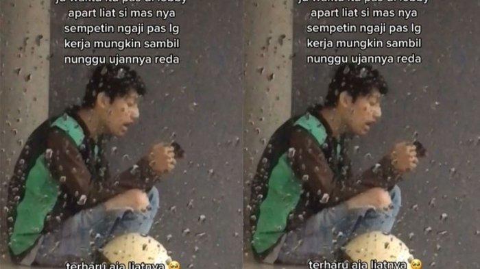 Viral Video Driver Ojol Ngaji Saat Berteduh dari Hujan, Buat Kagum Warganet : Idaman Banget