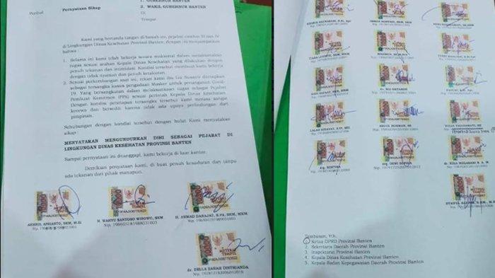 Pejabat di Dinas Kesehatan Provinsi Banten kompak melayangkan surat pengunduran diri, diduga terkait adanya kasus korupsi pengadaan masker