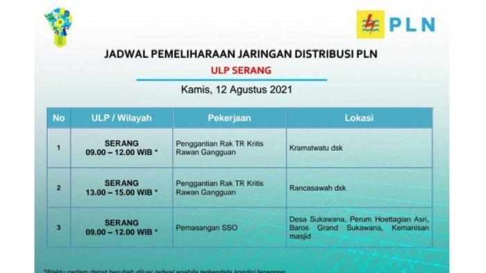 Jadwal dan Wilayah Pemadaman Listrik di Serang, Kamis 12 Agustus 2021, PLN: Mohon Dapat Dipersiapkan