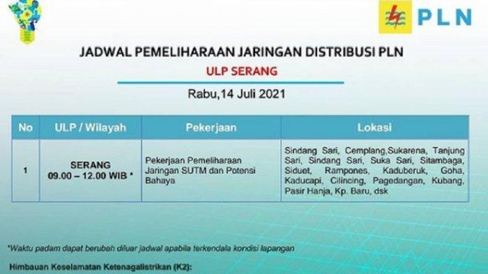 Jadwal Pemadaman Listrik Kota Serang Hari Ini, 14 Juli 2021, Ini Sejumlah Lokasi Terdampak