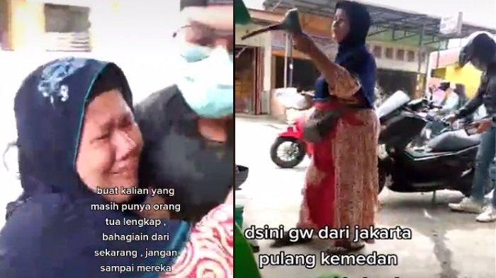 Viral Pemudik Beri Kejutan Untuk Ibunya yang Jual Bensin Eceran, Menangis Karena Lama Tak Bertemu
