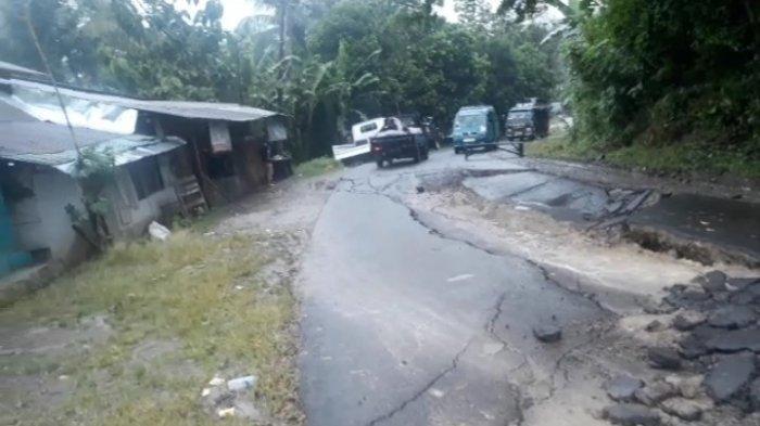 Isak Terkejut Suara Gemuruh, Tanah Bergerak Membelah Jalan Cibeber Lebak, BPBD Imbau Warga Waspada